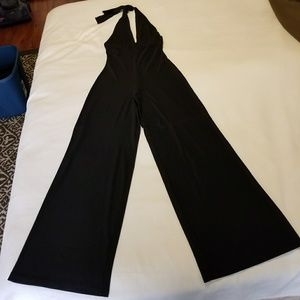 Other - Black Jumpsuit, Halter top with plunge V-neck